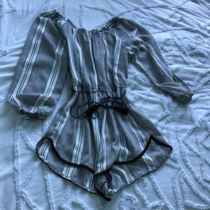 Urban outfitters black & white stripes romper